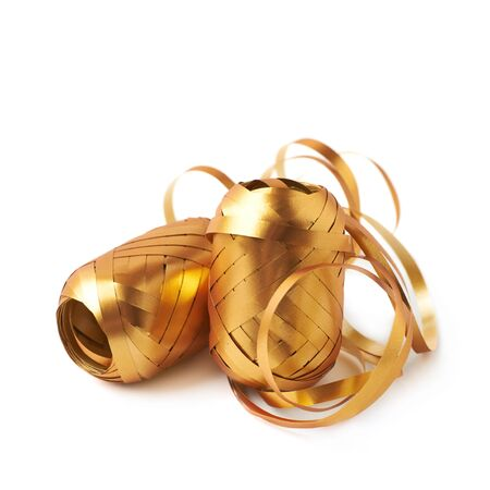 unwrapped: Two glossy golden ribbon reels partly unwrapped, composition isolated over the white background