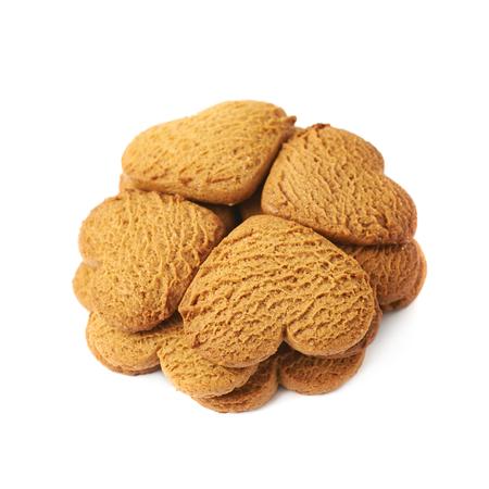 silhouette fleur: en forme de coeur biscuits en pain d'épice disposées en forme de fleur de trèfle, la composition isolé sur fond blanc