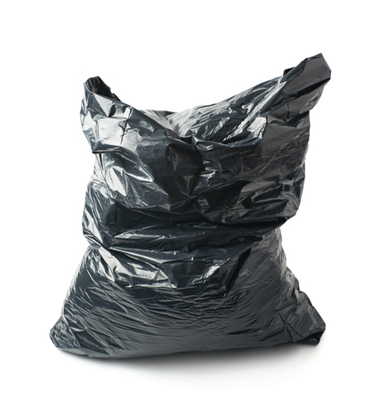 black plastic garbage bag: Filled black plastic garbage bag isolated over the white background