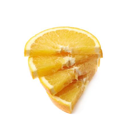sweet segments: Stack of multiple orange fruit slices isolated over the white background Stock Photo