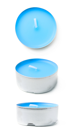 tealight: Single tealight paraffin wax blue candle isolated over the white background, set of three different foreshortenings Stock Photo