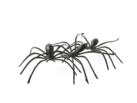 crawly: Pile of few fake rubber spider toys, composition isolated over the white background
