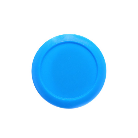 child's play clay: Blue modeling clay in a plastic container isolated over the white background Stock Photo