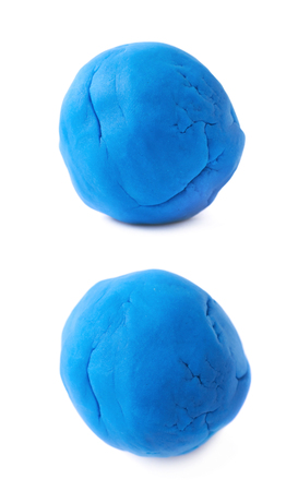 child's play clay: Piece of a blue modelling clay isolated over the white background, set of two different foreshortenings
