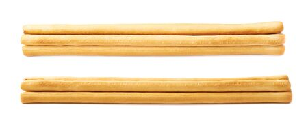 caloric: Pile of bread sticks isolated over the white background, set collection of two different foreshortenings