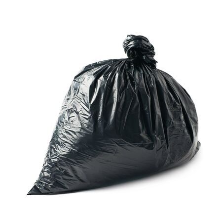 garbage bag: Closed and tied in a knot black plastic garbage bag isolated over the white background Stock Photo