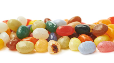 jellybean: Decorational line made of colorful jelly bean candies isolated over the white background