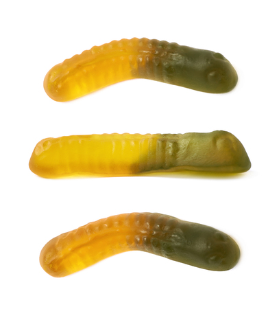 gummi: Gelatin based gummi worm shaped candy isolated over the white background, set of three different foreshortenings
