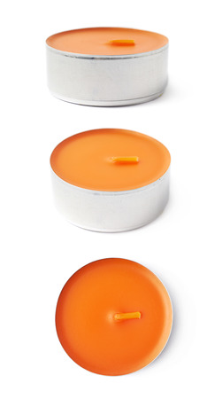 tealight: Single tealight paraffin wax orange candle isolated over the white background, set of three different foreshortenings