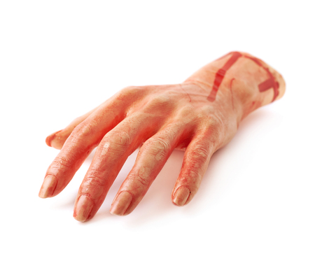 severed: Fake rubber severed hand as a Halloween prank toy, isolated over the white background