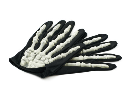 thumb x ray: Pair of skeleton hand gloves as a part of a Halloween costume, isolated over the white background