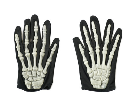 thumb x ray: Skeleton hand glove as a part of a Halloween costume, isolated over the white background, set of two different foreshortenings