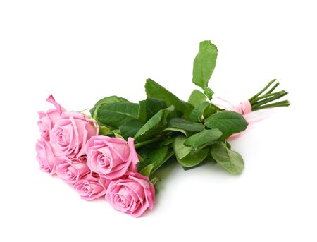 bunch of flowers: Bouquet of pink roses isolated over the white background