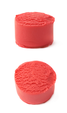 child's play clay: Piece of a red modelling clay isolated over the white background, set of two different foreshortenings Stock Photo