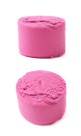 modelling: Piece of a pink modelling clay isolated over the white background, set of two different foreshortenings Stock Photo