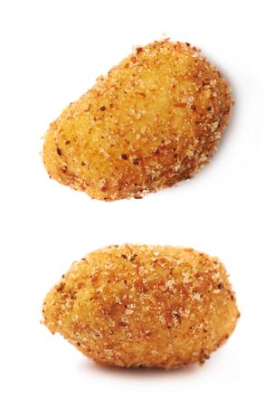 peanut: Spicy flavour crunchy coated nut isolated over the white background, set of two different foreshortenings