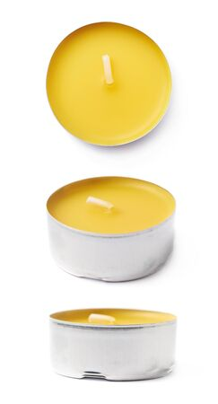 tealight: Single tealight paraffin wax yellow candle isolated over the white background, set of three different foreshortenings