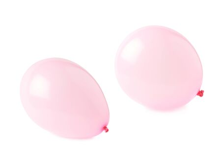 inflated: Inflated pink air balloons isolated over the white background, set collection of two different foreshortenings