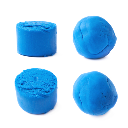 childs play clay: Piece of a blue modelling clay isolated over the white background, set of four different foreshortenings