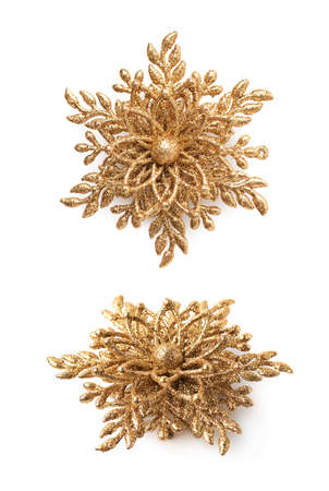 christmas element: Golden Christmas star decoration element isolated over the white background, set of two different foreshortenings