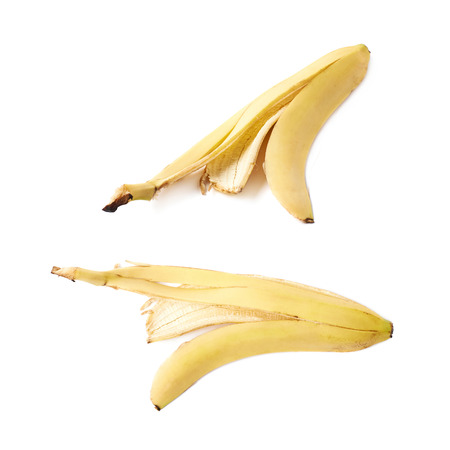 banana skin: Banana peel skin isolated over the white background, set collection of two different foreshortenings