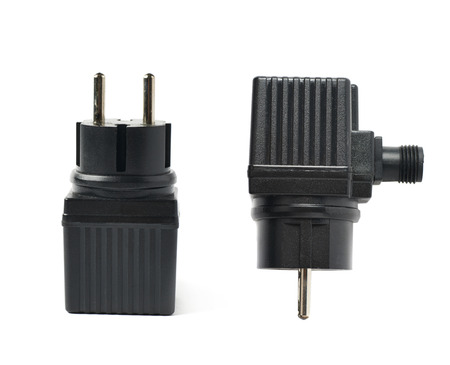 electrify: Black plastic electric adapter isolated over the white background, set collection of two different foreshortenings Stock Photo