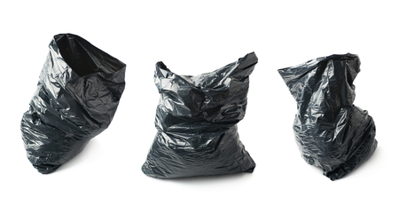black plastic garbage bag: Filled black plastic garbage bag isolated over the white background, set collection of three different foreshortenings