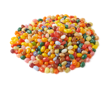 jellybean: Big pile of colorful jelly bean candies isolated over the white background