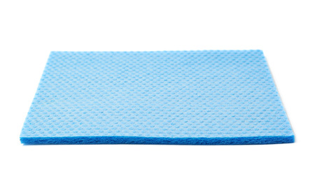 blue white kitchen: Blue kitchen wipe square cloth isolated over the white background
