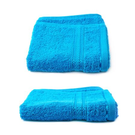 terry: Single terry cloth towel isolated over the white background, set collection of two different foreshortenings