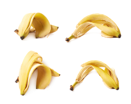 banana skin: Banana peel skin isolated over the white background, set collection of four different foreshortenings