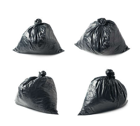 black plastic garbage bag: Closed and tied in a knot black plastic garbage bag isolated over the white background, set collection of four different foreshortenings