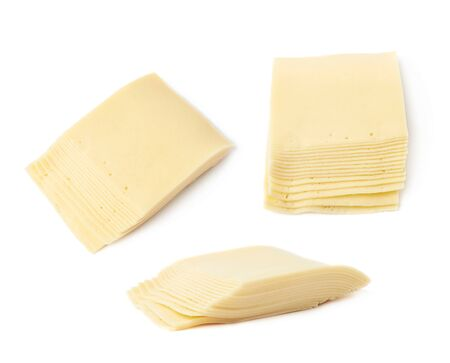 pasteurized: Stack of multiple cheese slices isolated over the white background, set of three different foreshortenings
