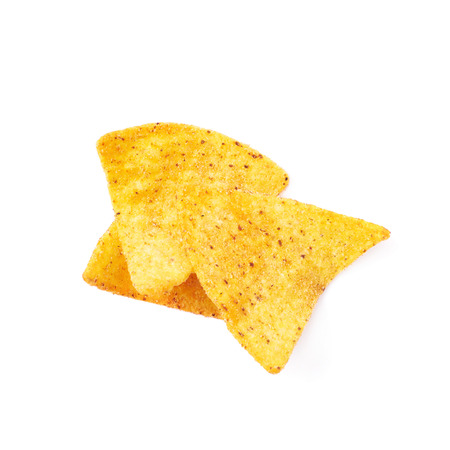few: Pile of few corn tortilla chips isolated over the white background Stock Photo