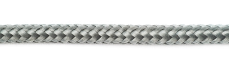 braided flexible: Fragment of gray rope isolated over the white background