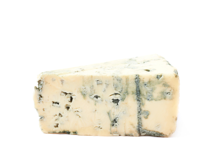 penicillium: Blue roquefort cheese isolated over the white background