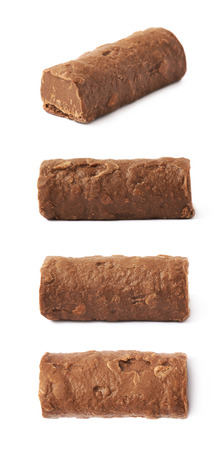 praline: Chocolate praline candy isolated over the white background, set of four different foreshortenings