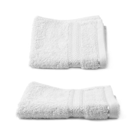 terry: Single white terry cloth towel isolated over the white background, set collection of two different foreshortenings Stock Photo