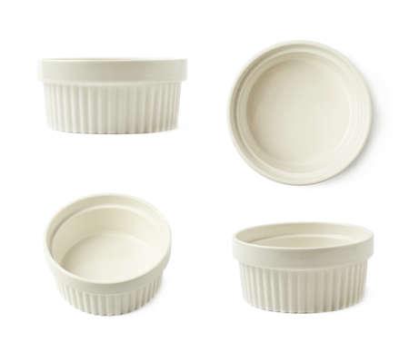 ramekin: White porcelain souffle ramekin dish isolated over the white background, set of four different foreshortenings