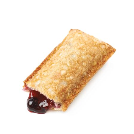 wildberry: Oil fried wild berries jam crunchy pie with a singe bite taken, composition isolated over the white background