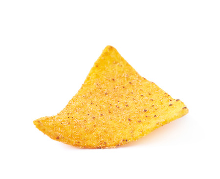 yellow corn: Single yellow corn tortilla chip isolated over the white background Stock Photo