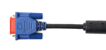 vga: VGA male cable connector isolated over the white background