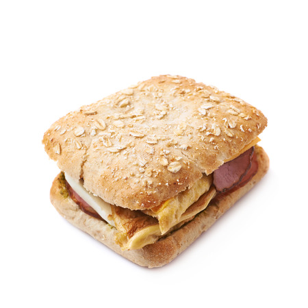 sandwitch: Home made sandwich with a white bread bun, isolated over the white background