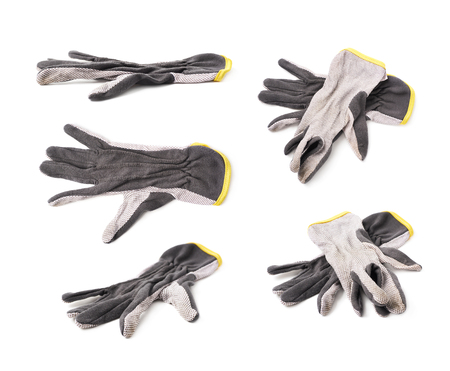 working gloves: Pair of dirty working gloves isolated over the white background, set of five different foreshortenings