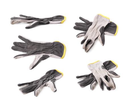 ?  ?      ?  ?     ?  ?    ?  ? gloves: Un par de guantes de trabajo sucias aisladas sobre el fondo blanco, un conjunto de cinco diferentes escorzos