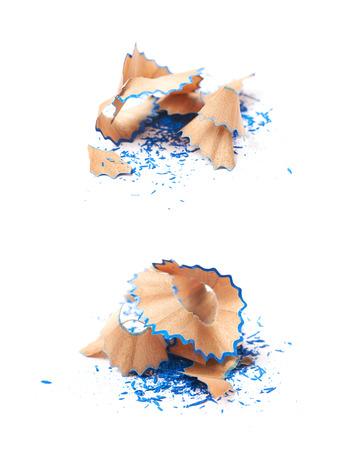 lapiz y papel: Montón de virutas de lápiz de madera aislada sobre el fondo blanco Foto de archivo