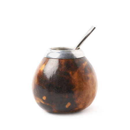 mate: Calabash mate gourd with a bombilla drinking straw inside it, composition isolated over the white background