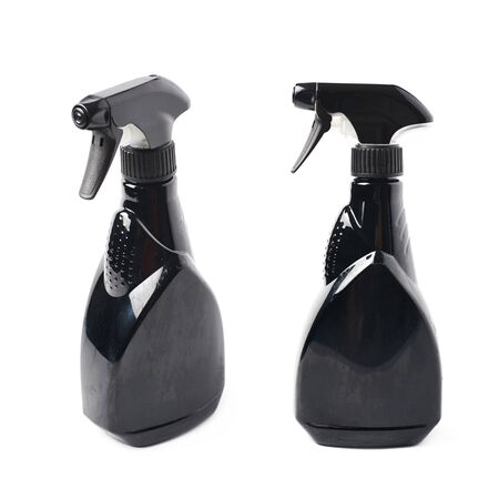 pulverizer: Black plastic sprayer pulverizer isolated over the white background, set of two different foreshortenings