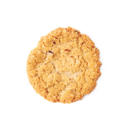 oatmeal: Thin oatmeal cookie isolated over the white background