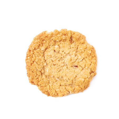 oatmeal cookie: Thin oatmeal cookie isolated over the white background